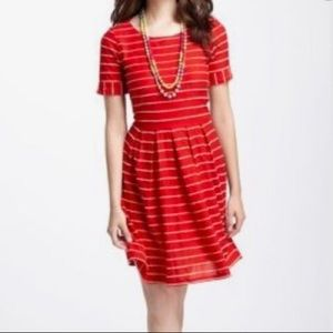Bordeaux for Anthropologie Red Scalloped Dress